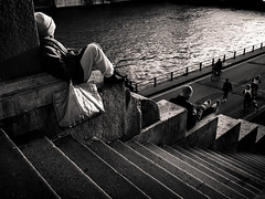 Le Temps De Vivre (LoKee Photo) Tags: lokee black white monochrome paris street city urban sunset evening people relax stairs light shadows spring fujilm gfx 50r