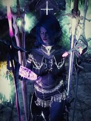 Charon - Sword Sorceress (DiamondbackVIII) Tags: charon two tone blue skin and hair purple eyes horns daedra swords elder scrolls v skyrim bdo dahlia of the night