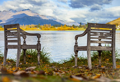 Autumn Days (reecebarthorpe) Tags: newzealand canon landscape travel lake lakehays autumn leafs grass montain morning seats summergone