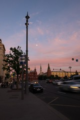 Moscow, Russia. (lolita.khlynina) Tags: moon cloud clouds sky walking russia россия москва travel center redsquare cars car road street city pink rose evening moscow