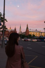 Moscow, Russia. (lolita.khlynina) Tags: moon red square redsquare краснаяплощадь россия москва walking road cars car center city clouds spring cloud sky girl woman people rose pink evening russia moscow