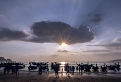 Railay Beach Rush Hour (parkerbernd) Tags: railay beach rush hour longtail boat paradise vacation fantastic light krabi sunset backlight sun rays sunbeams water andaman sea panasonic lumix gx9 sky