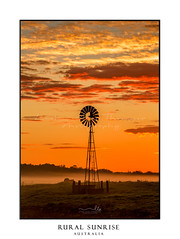 Misty mornings across rural farmland fields (sugarbellaleah) Tags: windmill sunrise farm countryside clouds misty fog field farmland country rural outback old aged nature agriculture vivid colours red orange yellow grass landscape vertical silhouette vibrant morning australia richmond