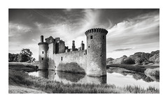 Medieval (GlennDriver) Tags: black white bw bnw blackandwhite castle scotland moat medieval clouds water fineart mono monochrome shadow canon nd light dark