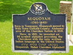 Sequoyah Historic Marker (jimmywayne) Tags: alabama fortpayne ftpayne dekalbcounty historic marker sequoyah