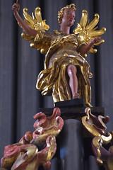 Wolfenbüttel, Niedersachsen, Hauptkirche, organ, detail (groenling) Tags: wolfenbüttel niedersachsen germany deutschland de hauptkirchebeataemariaevirginis hauptkirche organ orgel fritzsche wood carving woodcarving gehäuse case rp rückpositiv positive mmiia angel conductor dirigent