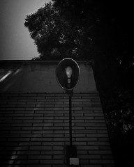 An old-styled streetlight on a modern building (B&W) (Masakino Fuquini) Tags: blackandwhite light streetlight spain city 街灯 明かり 白黒 電気 スペイン アラゴン iphone モノクロ 春 初夏 spring españa aragón