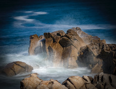 Monterey Rocks in the Mist.jpg (CDay DaytimeStudios w /1 Million views) Tags: ca pebblebeach water 17miledrive pacificcoasthighway bluesky california highway1 montereyca pacificgrove carmelca ocean pacificcoast beach sky seascape coastline landscape rocks montereybay