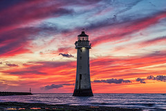 Sunset 28/05/2019 (gmorriswk) Tags: formatthitechfirecrest fortperchrock sea yellow orange red clouds sunset wirral rivermersey landscape seascape lighthouse newbrighton wallasey merseyside england unitedkingdom