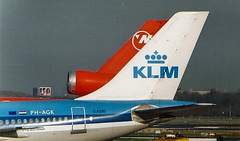 Northwest Airlines DC10 and KLM Airbus A310 tail fins at Amsterdam AMS Netherlands (thelastvintage) Tags: northwestairlines dc10 klm airbus a310 tail fins amsterdam ams netherlands