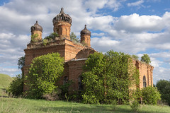 Abandoned Church. (Oleg.A) Tags: grass spring penzaregion russia church nature hill orange clouds summer tree orthodox sky village ruined landscape sunset old destroyed brick ancient outdoor rural evening abandoned light cathedral countryside blue colorful interior dome exterior sunny design belogorka leaves skyscape style sun architecture field