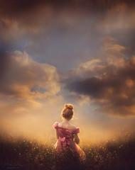 Contemplation ({jessica drossin}) Tags: jessicadrossin girl child dress pink bow ribbon hair sky clouds sunset grass alone beauty pretty wwwjessicadrossincom overlays