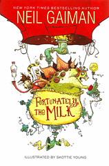 Fortunately, the Milk (Vernon Barford School Library) Tags: neilgaiman neil gaiman skottieyoung skottie young fantasy fantasyfiction adventure humour humor humorous sciencefiction timetravel fathers family families parents spaceandtime fastpick fastpicks fast pick picks vernon barford library libraries new recent book books read reading reads junior high middle school vernonbarford fiction fictional novel novels hardcover hard cover hardcovers covers bookcover bookcovers 9780062224071