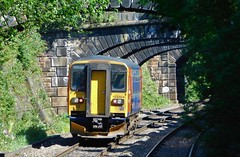 Between the bridges of Belper (The Walsall Spotter) Tags: belper midland railway sunshine class153 single carriage leyland sprinter dmu 153384 british railways train networkrail dogbox eastmidlandstrains