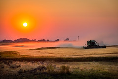 tractor working in the field (Sam Scholes) Tags: johndeere colorful sunset idaho farm tractor light dusk field