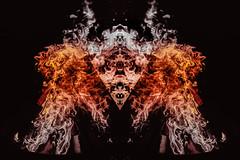 Mask of Life (dylanonfilm) Tags: fire burn dark black red orange design ideas creative imagination headress inca manipulated symmetry shapes gothic bali