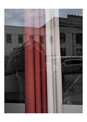 Curtains in a vacant storefront window (Richard C. Johnson: AKA fishwrapcomix) Tags: panasonic lumixg9 20mmf17 color vacantstorefront building bank architecture vinyl midcenturymodern industrialdesign reflections selfportrait shadows smallbusiness car canoe parking duluth minnesota outofbusiness modernity icamesofarforbeauty sictransitgloriamundi
