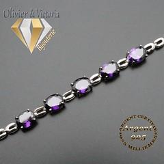 Bracelet 5 pierres violettes d'améthyste et sa chaîne en argent 925 (olivier_victoria) Tags: argent 925 violet améthyste bracelet chaine 5