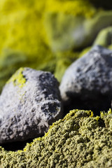 Contrasts (David M. Stucki) Tags: macro canon schwefel sulfur green grün mineral kristal cristal fumarole gift poison david manuel stucki hitze natur nature outside new stein stone erde earth miracle wunder magic loch hole volcano vulkan formation gelb yellow contrast colour color farbe rauch smoke gas cleft risse kruste crust vulcano fissures cracks geology geologie makro efs60mmf28macrousm canoneos60d