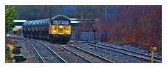 Grid Reference (david.hayes77) Tags: bamberbridge lancashire freight tanks 6e32 bitumen winter 2019 colas class56 grid 56087 milepost pano panorama speedrestrictionsigns telephoto lancs