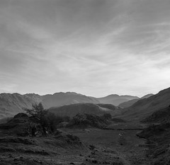 Looking south from Castle Crag (Jonathan Woods Photography) Tags: ebony sv45te large format film 5x4 bw ilford delta 100 lake district glaramara castle crag sunset layers mountains landscape