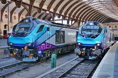 Side by Side Super Skips (JohnGreyTurner) Tags: br rail uk railway train transport diesel engine locomotive york yorkshire tpe transpennine 68 class68 superskip light