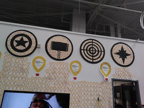 Captain America, Thor, Hawkeye and Captain Marvel logos