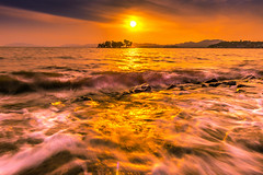 sunset 0080 (junjiaoyama) Tags: japan sunset sky light cloud weather landscape orange gold yellow contrast color lake island water nature spring wave rough rocks reflection sun gorgeous