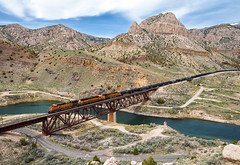 The Boysen View (Wheelnrail) Tags: bnsf burlington northern santa fe train trains wind river canyon bridge wyoming rail road railroad ge freight boysen state park rock rural scenic west is best