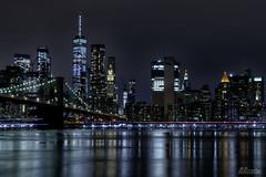 Manhattan Skyline Through the Brooklyn Bridge At Night New York City 02 (Barbara Brundage) Tags: manhattan skyline through brooklyn bridge at night new york city 02