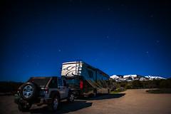 Mountains by Moonlight (RoamingTogether) Tags: abajomountains astronomy dieselpusher jeep monticello motorhome mountain nikon nikon20mm28 nikond700 phaeton rv recreationalvehicle snow tiffin utah wrangler wranglerunlimited wranglerunlimitedsport