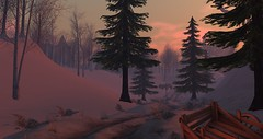 Avilion Loch (Osiris LeShelle) Tags: secondlife second life avilion loch snow winter road forest landscape cart