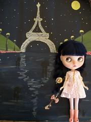 Dreaming of Paris..... (simplychictiques) Tags: moctopuscustomblythedoll blythe ooakcustomblythe curlybluebabecustom childlike innocent braids parispainting dreamingofparis