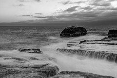 Panther Beach (explored) (j1985w) Tags: california davenport pantherbeach ocean sky clouds sunset blackandwhite rocks waves longexposure explore explored
