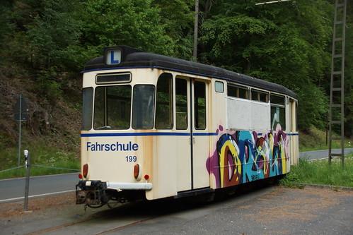 Fahrschulwagen der Kirnitzschtalbahn, gesehen in Lichtenhainer Wasserfall