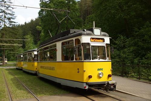Abfahrbereiter Zug der Kirnitzschtalbahn in Lichtenhain Wasserfall