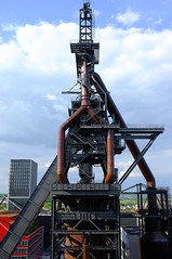 Blast Furnance, standing tall (Peppermantwist, once again) Tags: heavy industry blast furnace steel iron pipes beams belval luxembourg sky