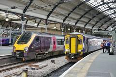 Southampton and Carlisle (JohnGreyTurner) Tags: br rail uk railway train transport tyneside diesel engine dmu multiple unit crosscountry northern scotrail 220 class220 voyager 156 class156