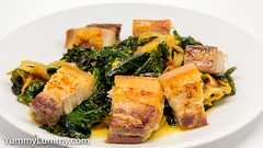 Crispy pork belly with steamed red kale, red endive, and drumhead cabbage. (garydlum) Tags: cabbage carrot celery chillies cream endive fishsauce kale oystersauce pork sesameoil springonion tomato canberra australiancapitalterritory