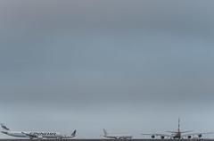 finnair flight ay12 holds for departure to helsinki (pbo31) Tags: bayarea california nikon d810 color may 2019 boury pbo31 sanfranciscointernational sfo sanmateocounty airport aviation airline travel runway burlingame flight gray fog overcast plane britishairways airbus a380 finnair united departing