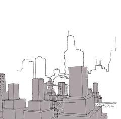 Tombs and Skyscrapers. Aoyama Cemetery. Tokyo. April 2019 (stevefaradaysketches) Tags: tokyo skyscrapers skyline japan urbansketch urbansketchers usk inkdrawing illustration onlocation fineliner penandinksketch tombs graves cemetery aoyamacemetery cityscape