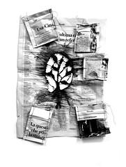 work in progress (Ines Seidel) Tags: news newspaper altering altered transform sewing illustration change lerepubblica nachrichten zeitung verändern blackandwhite bw wip workinprogress schwarzweiss
