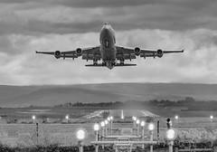 747 in b/w (ukmjk) Tags: manchester aircraft airport runway 2 747 jumbo jet nikon nikkor d500 200500 vr black white monochrome lights morning