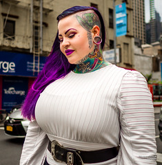 The New Yorkers - Tattoo you (François Escriva) Tags: street streetphotography us usa nyc ny new york people candid olympus omd photo rue sun light woman colors sidewalk manhattan cute tattoo purple style hair neck face