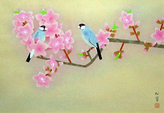 Peach and Java sparrow (Japanese Flower and Bird Art) Tags: flower peach prunus persica rosaceae bird java sparrow padda oryzivora estrildidae shoko uemura modern woodblock print japan japanese art readercollection