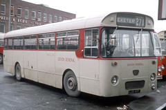 Devon General Omnibus & Touring Company Ltd . 47 LUO47F . Exeter Bus Station , Devon . December-1973 (AndrewHA's) Tags: bus coach devongeneral aec reliance willowbrook 47 luo47f dual purpose reverse livery limited stop routes
