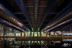 Downward Pressure (TVZ Photography) Tags: canarywharf london onecanadasquare city lights water reflection night evening longexposure lowlight sonya7riii zeiss loxia 21mm