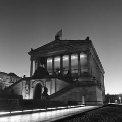 Altes Nationalgalerie (csobie) Tags: bronicasqa 50mmf35s hp5 mediumformat 6x6 120 film analog blackandwhite ilford museum night evening longexposure travel berlin germany architecture