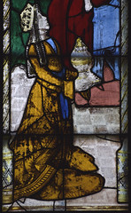 Fairford, Gloucestershire, St. Mary's church, stained-glass window # 1, detail (groenling) Tags: fairford gloucestershire glos england britain greatbritain gb uk stmaryschurch stainedglasswindow stainedglass glass flower barley queen sheba