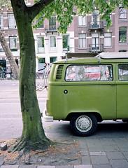 Green in Amsterdam (Brjann.com) Tags: red leica m4p rangefinder film analog analogue amsterdam street photography minimalism green color colours colour colors palettes palette old school vintage car cars van vans zeiss 35mm kodak kodakfilm portra portra160 160 iso asa kp160